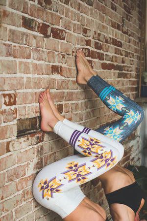 Grey Aztec Yoga Pants