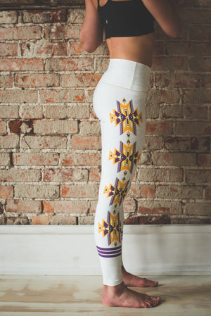 Oatmeal Aztec Yoga Pants