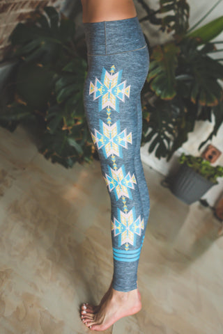 Image of Grey Aztec Yoga Pants *FINAL SALE*