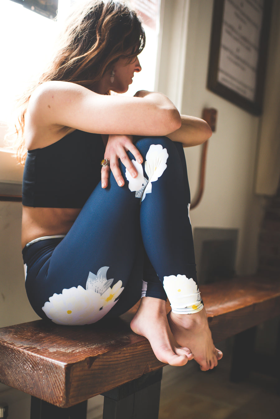 Navy Floral Yoga Pants