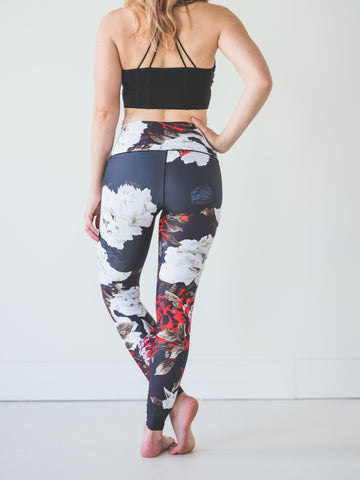 Image of Black Floral Yoga Pants