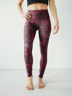 Burgundy Camo Yoga Pants