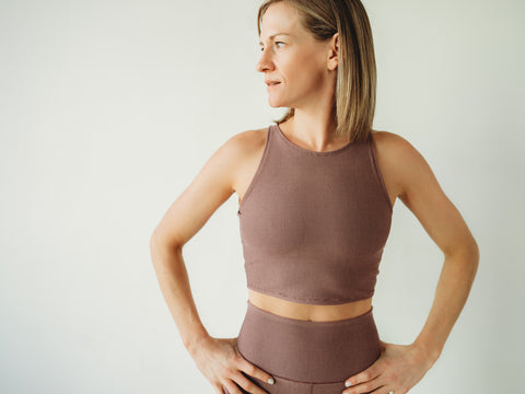 Mauve Microstripe Crop Top