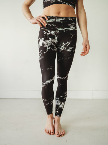 Image of Black Marble Yoga Pants