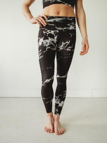 Black Marble Sports Bra & Yoga Pants Bundle