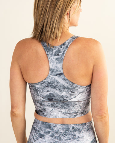 Image of Grey Marble Longline Sports Bra