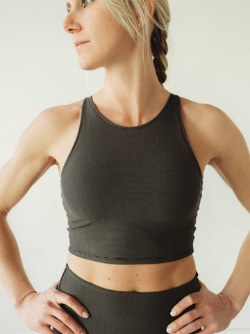 Image of Grey Microstripe Crop Top