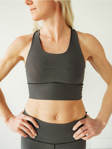 Image of Grey Microstripe Longline Sports Bra