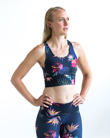 Image of Tropical Floral Longline Sports Bra