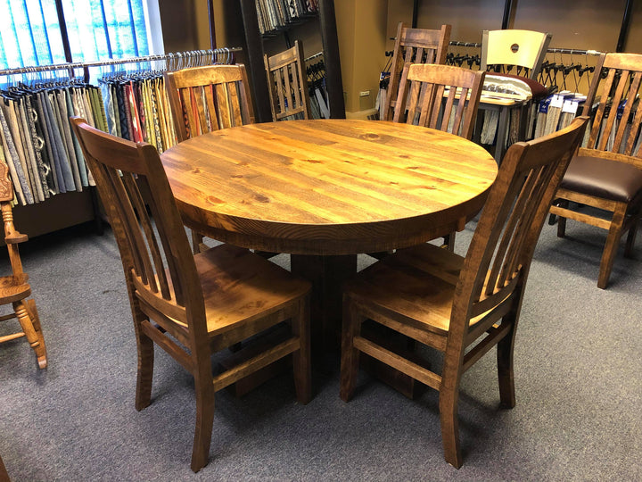 Rustic Round Table + 4 Chairs