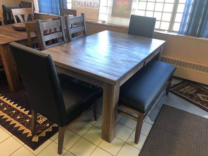 Rustic Grey Table with Parson Chairs and Bench