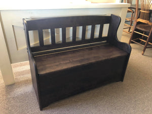 Smooth Birch 100B Deacons Bench with Storage in Midnight Finish S-213