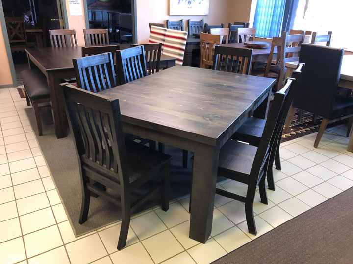 Rustic Table and 6 Lumbar Back Chairs w/ wood seat