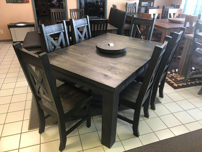 "Rustic Pine R431P Harvest Table, 6 Rustic X Back Chairs & 16"" Lazy Susan in Ebony Finish S-111"