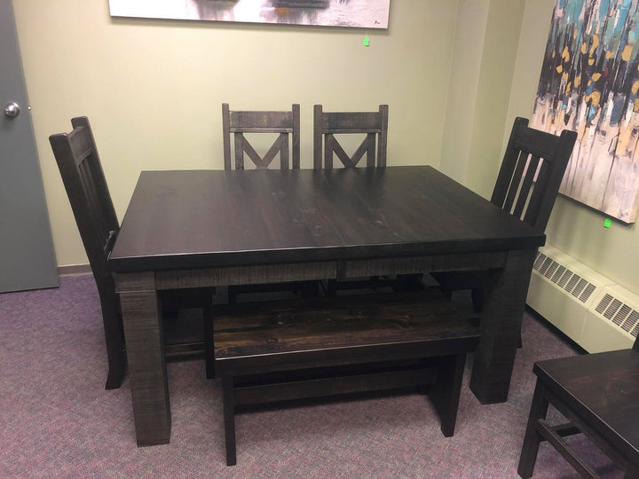 Rustic Dark Table, Chair  and Bench Set