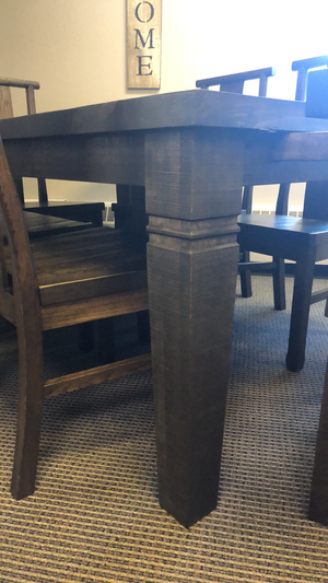 Ebony Rustic Pine Super Table and 6 Ebony Oak Norman Chairs with Rustic Pine Seats S-106