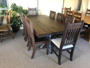 Rustic Pine R446P Shaker Table, 2 Rustic Bent Back Chairs & 6 Rustic School House Chairs in Scotch Finish S-113