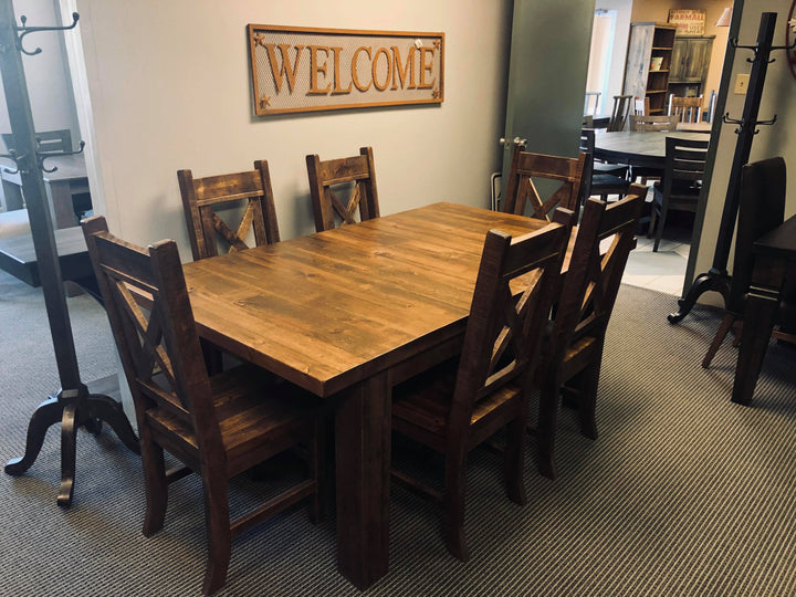 Super Table with 6 X- Back Chairs S-218