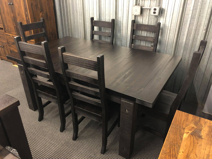 Rustic Pine R452P Harvest Table & 6 Rustic Ladder Back Chairs in Guinness Finish S-100 S-104