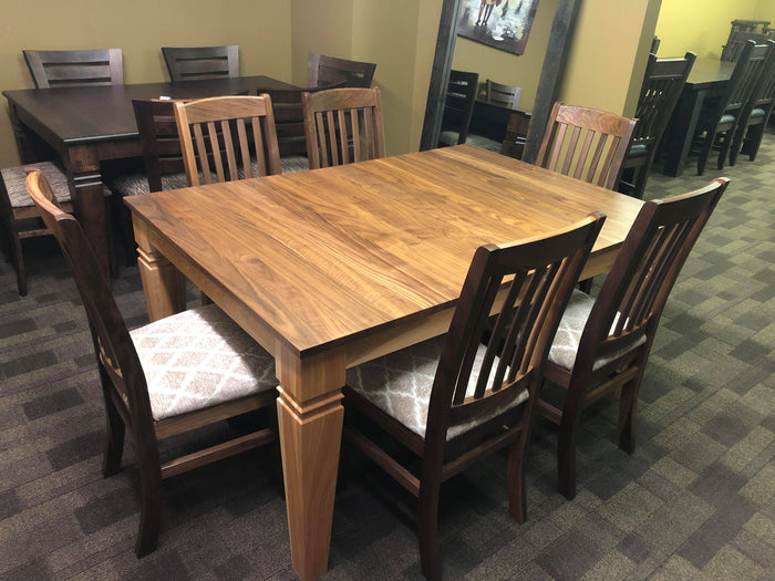 Smooth Walnut D431W Harvest Table & 6 Walnut Scholar Chairs in Natural Finish S-102