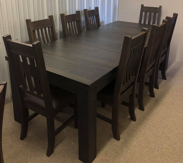 Rustic Pine R460P Monster Table, 2 Rustic Slat Back Chairs & 6 Rustic Bent Back Chairs in Guinness Finish S-105