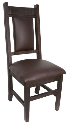 R750 Rustic Slat-back Chair With Upholstered Seat and Back