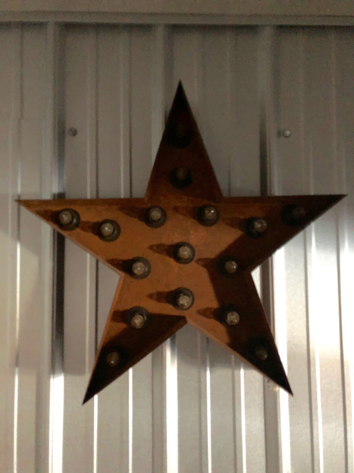 Rustic Star with Lights
