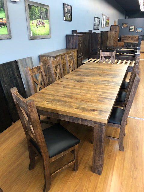 Rustic Table with X-Back Chairs