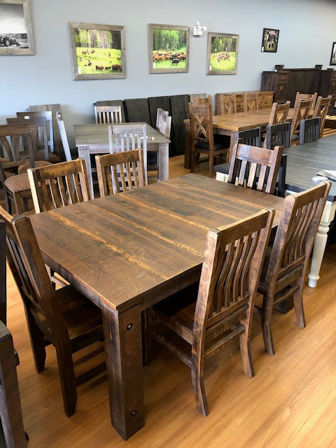 Rustic Birch Table with 4 lumbar and 2 slat back chairs