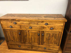 Rustic Server/Sideboard with Oval Handles S-147