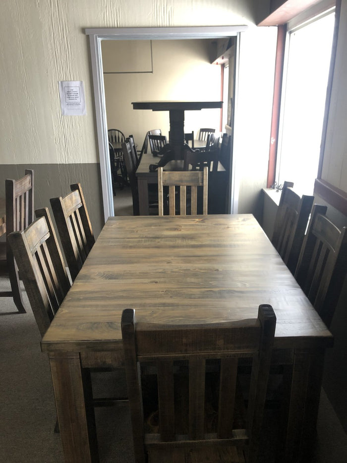 Rustic Pine R449P Harvest Table & 6 Rustic Slat Back Chairs in Lowry Finish S-225