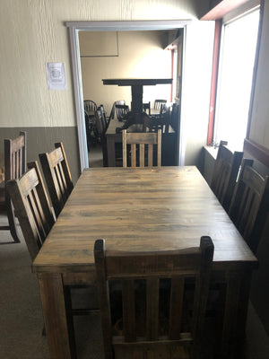 Rustic Pine R431P Harvest Table & 6 Rustic Slat Back Chairs in Lowry Finish S-219
