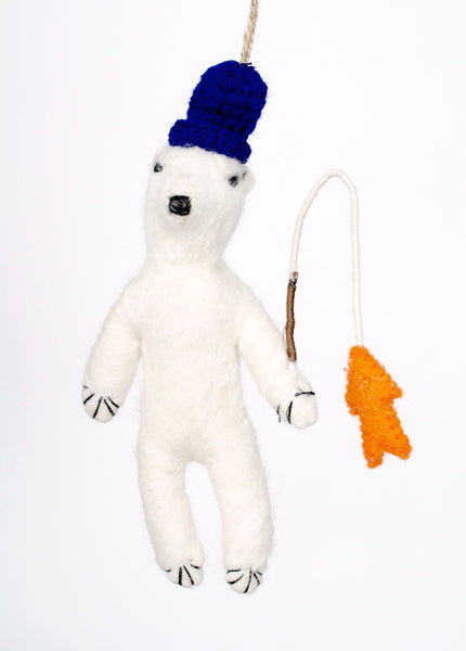 Polar Bear with Fish Ornament
