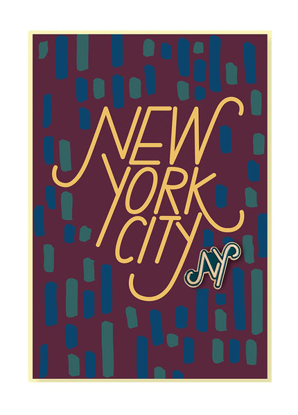 New York Pin Postcard