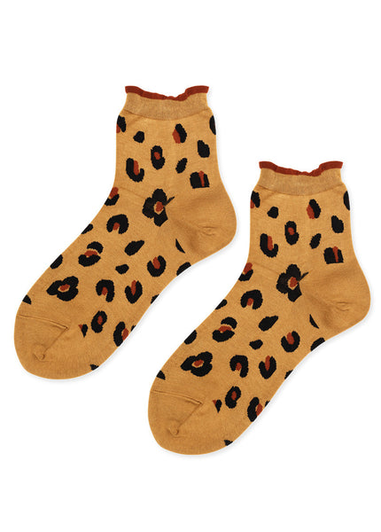 Cheetah Short Crew Socks