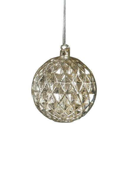 Mercury Glass Ornament - faceted diamond