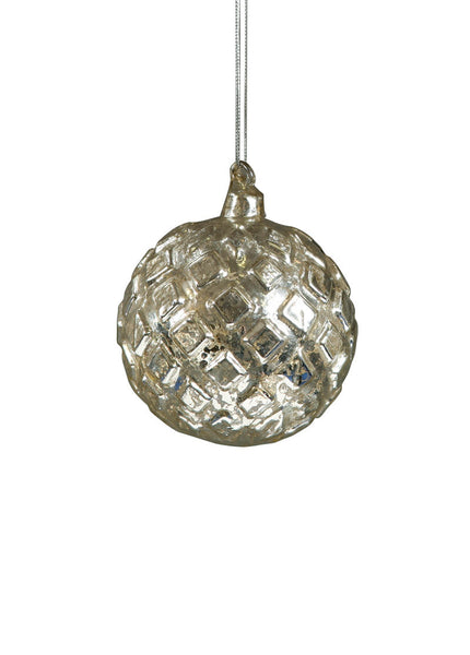 Mercury Glass Ornament - embossed diamond