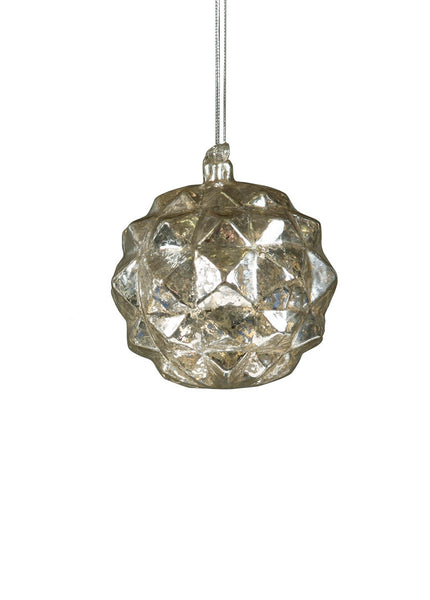 Mercury Glass Ornament - pyramid diamond