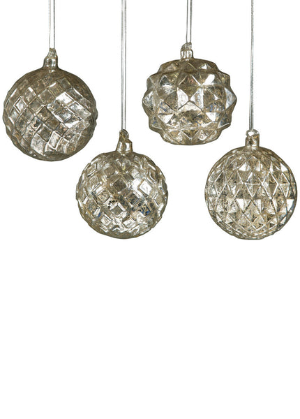 Mercury Glass Ornament - debossed diamond