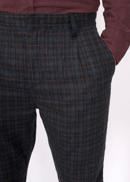 Drop Check Wool Trousers