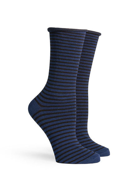 Cate Striped Roll Top Socks