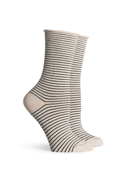 Hari Metallic Striped Roll Top Socks