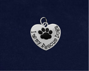 I Love My Rescue Dogs Charm