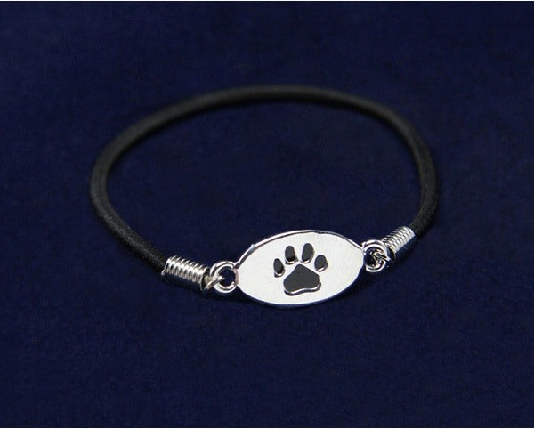 Black Paw Print Stretch Bracelet