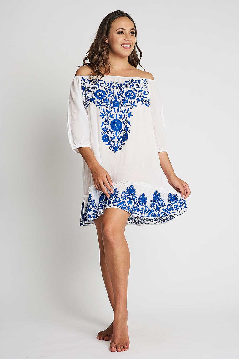 embroidery off shoulder tunic white