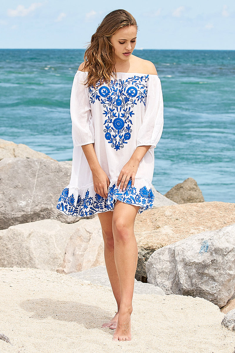 off shoulder tunic dress white