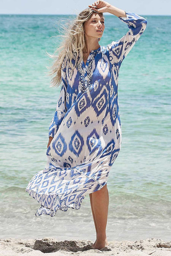 debbie katz halina ikat long resort dress