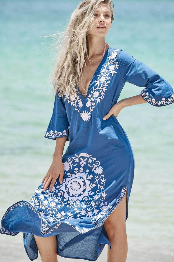 Taliah Maxi Tunic resort dress navy blue