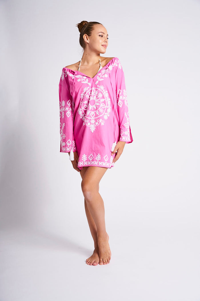 tunic, beach, coverup, dress, cruisewear, boho, gypset, chic, embroidered, fuschia, pink, vida