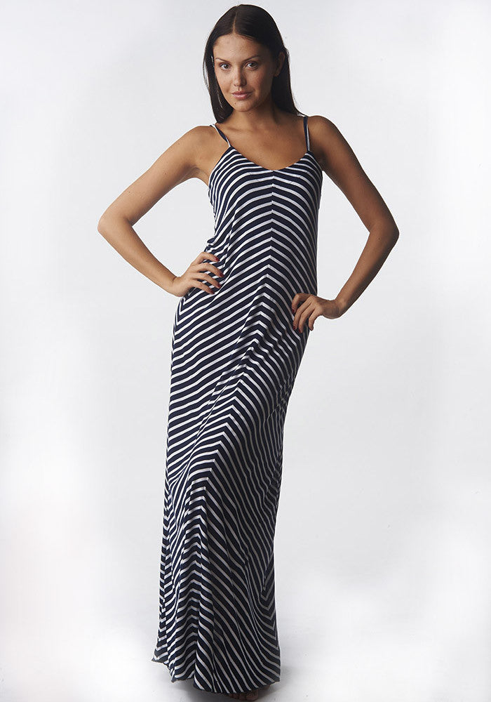 Maxi Dress Striped Knit Navy-White